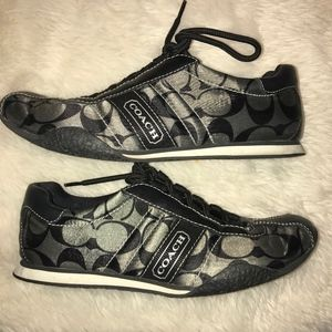 LIKE NEW: COACH  BLACK & GRAY/SILVER TENNIS SHOES